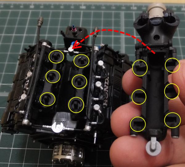 エンジンブロックの突起部分とターボチャンバー