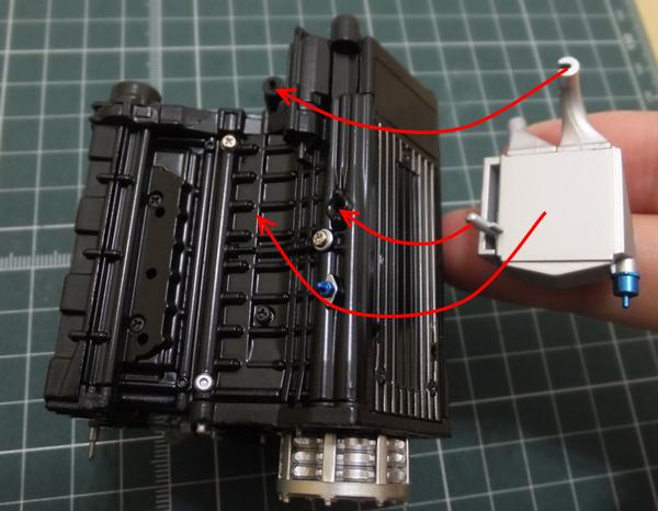 エンジンブロックに水冷式オイルクーラーを仮組み