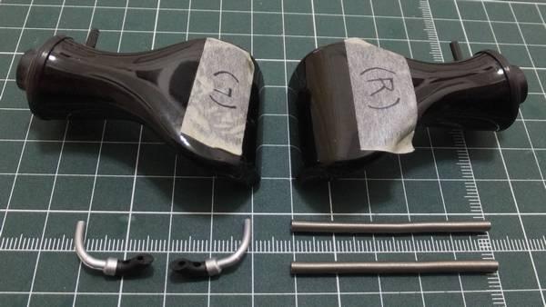 ターボインレットダクト(左、右)、ウェイストゲートパイプ(左前、右前)、ウェイストゲートパイプ×2