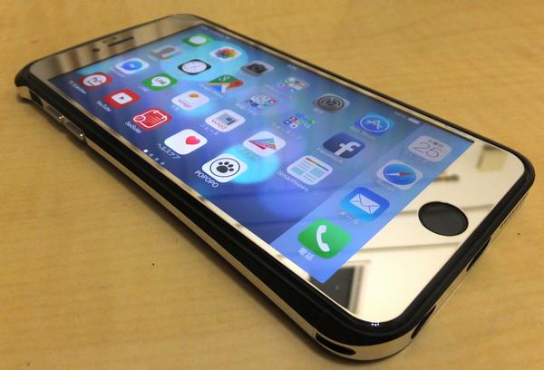 iPhone6 plus 鏡面 アルミ ガラスフイルム ケース (iPhone6 plus, 銀)+バンパー