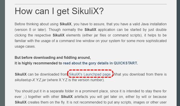 SikuliX's Launchpad page.