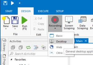「Recording」>「Desktop」メニュー